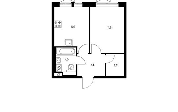 1-комнатная квартира, 33.6 м<sup>2</sup>, 21 этаж