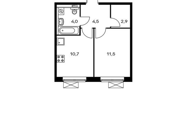 1-комнатная квартира, 33.6 м<sup>2</sup>, 15 этаж