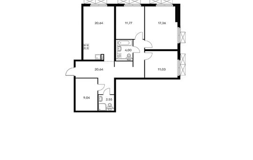 3-комнатная квартира, 97 м<sup>2</sup>, 2 этаж
