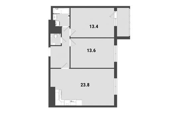 2-комнатная квартира, 63.1 м<sup>2</sup>, 23 этаж_1