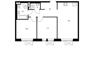 2-комнатная квартира, 56.2 м<sup>2</sup>, 2 этаж