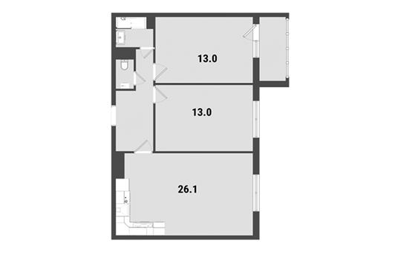 2-комнатная квартира, 65.2 м<sup>2</sup>, 16 этаж_1