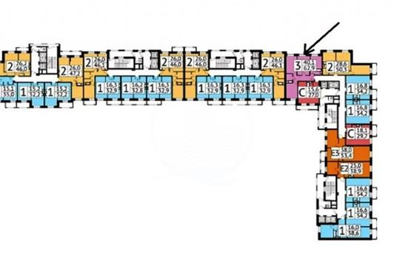 3-комн квартира, 63.5 м2, 16 этаж