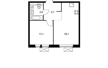 1-комнатная квартира, 39.3 м<sup>2</sup>, 22 этаж