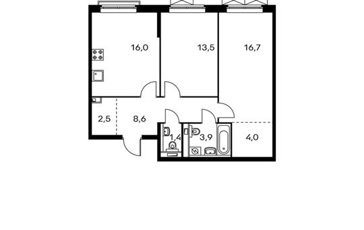 2-комнатная квартира, 66.6 м<sup>2</sup>, 7 этаж