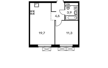 1-комнатная квартира, 39.5 м<sup>2</sup>, 13 этаж