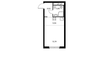 1-комнатная квартира, 25.18 м<sup>2</sup>, 8 этаж