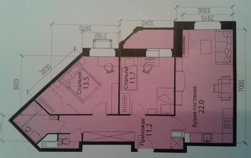 2-комнатная квартира, 65 м<sup>2</sup>, 6 этаж