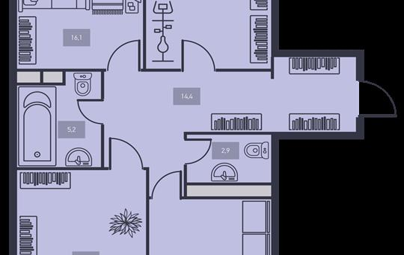 3-комнатная квартира, 87.3 м<sup>2</sup>, 5 этаж
