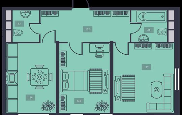 2-комнатная квартира, 57.5 м<sup>2</sup>, 17 этаж