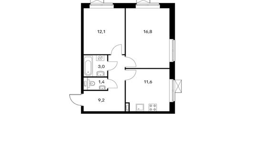 2-комнатная квартира, 54.1 м<sup>2</sup>, 17 этаж