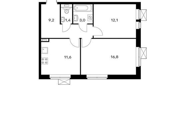 2-комнатная квартира, 54.1 м<sup>2</sup>, 13 этаж