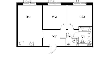 2-комнатная квартира, 61.6 м<sup>2</sup>, 22 этаж