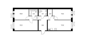 3-комнатная квартира, 79.9 м<sup>2</sup>, 14 этаж_1