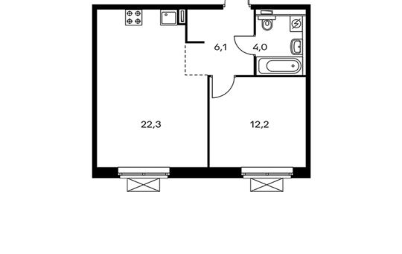 1-комнатная квартира, 44.6 м<sup>2</sup>, 7 этаж