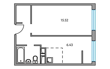 2-комнатная квартира, 35.51 м<sup>2</sup>, 2 этаж