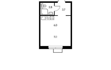 1-комнатная квартира, 23.6 м<sup>2</sup>, 2 этаж