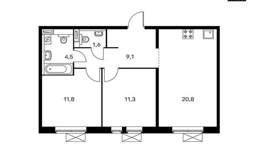 2-комнатная квартира, 59.1 м<sup>2</sup>, 4 этаж_1