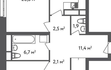 3-комнатная квартира, 85.2 м<sup>2</sup>, 2 этаж
