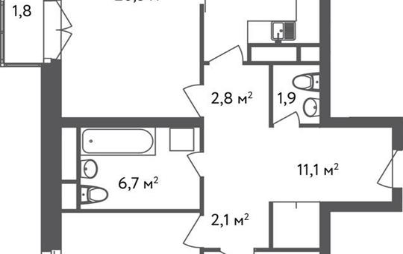 3-комнатная квартира, 84.9 м<sup>2</sup>, 4 этаж