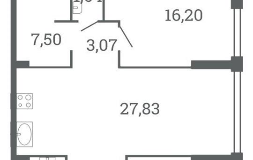2-комнатная квартира, 82.03 м<sup>2</sup>, 8 этаж_1