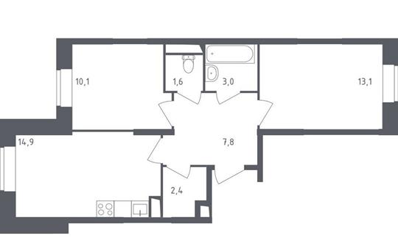 2-комнатная квартира, 52.9 м<sup>2</sup>, 2 этаж_1