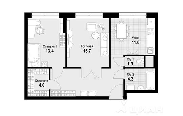 2-комнатная квартира, 68.1 м<sup>2</sup>, 2 этаж