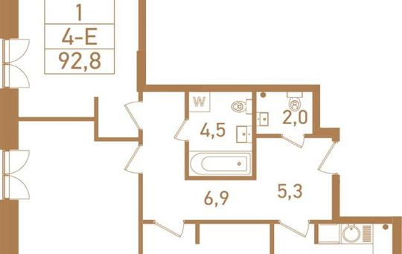 4-комнатная квартира, 97.2 м<sup>2</sup>, 13 этаж_1