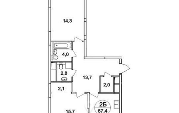 2-комн квартира, 67.4 м<sup>2</sup>, 2 этаж_1