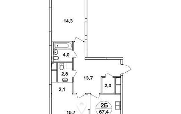2-комнатная квартира, 67.4 м<sup>2</sup>, 20 этаж_1