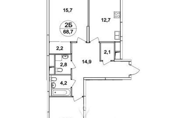 2-комнатная квартира, 68.7 м<sup>2</sup>, 25 этаж_1