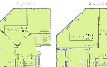 4-комнатная квартира, 168.45 м<sup>2</sup>, 14 этаж
