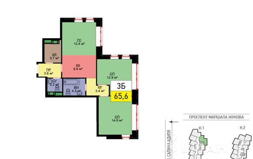 3-комнатная квартира, 68 м<sup>2</sup>, 2 этаж_1