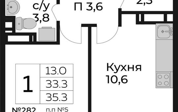 1-комнатная квартира, 35.3 м<sup>2</sup>, 6 этаж_1