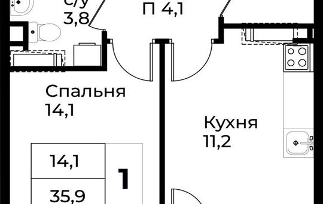 1-комн квартира, 37.9 м<sup>2</sup>, 13 этаж_1