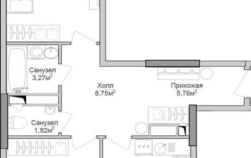2-комнатная квартира, 69.39 м<sup>2</sup>, 16 этаж