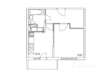 1-комн квартира, 37.79 м2, 12 этаж - фото 1
