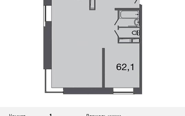 1-комнатная квартира, 66.6 м<sup>2</sup>, 23 этаж_1