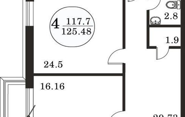 4-комнатная квартира, 117.7 м<sup>2</sup>, 19 этаж