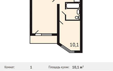 1-комнатная квартира, 40 м<sup>2</sup>, 3 этаж_1