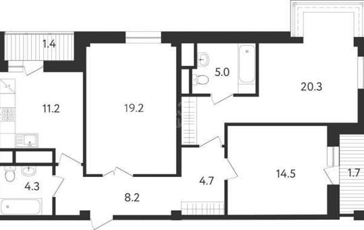 3-комнатная квартира, 90.5 м<sup>2</sup>, 3 этаж