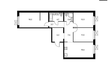 3-комнатная квартира, 85.8 м<sup>2</sup>, 8 этаж_1