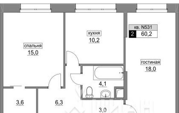 2-комнатная квартира, 60.2 м<sup>2</sup>, 2 этаж_1