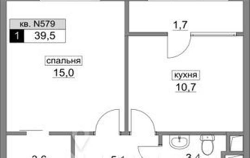 1-комнатная квартира, 39.5 м<sup>2</sup>, 3 этаж_1