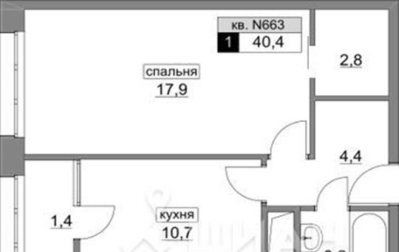 1-комн квартира, 40.4 м<sup>2</sup>, 15 этаж_1