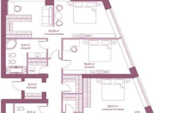 4-комнатная квартира, 174 м<sup>2</sup>, 17 этаж