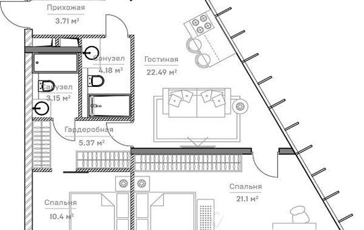 3-комнатная квартира, 70.82 м<sup>2</sup>, 6 этаж_1