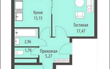2-комнатная квартира, 60.4 м<sup>2</sup>, 18 этаж_1
