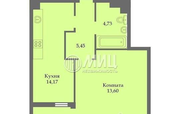 1-комнатная квартира, 39 м<sup>2</sup>, 14 этаж