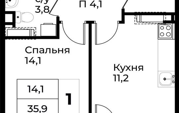 1-комнатная квартира, 37.8 м<sup>2</sup>, 3 этаж_1